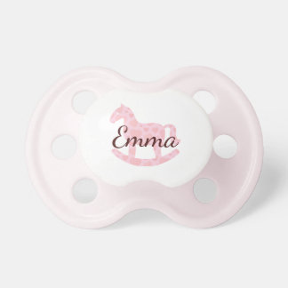 Pink Hearts White Rocky Horse•Custom Pacifier