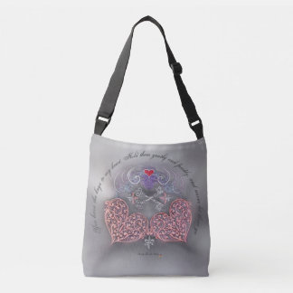 Pink Hearts with Silver Keys & Fleur di lis Crossbody Bag