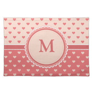 Pink Hearts || Your Initial || Custom Placemat