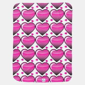 Pink Hearts Receiving Blankets