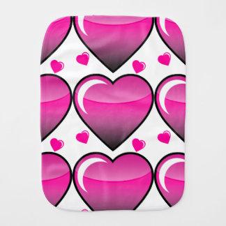 Pink Hearts Baby Burp Cloths