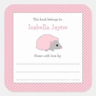 Pink Hedgehog Baby Shower bookplate book sticker