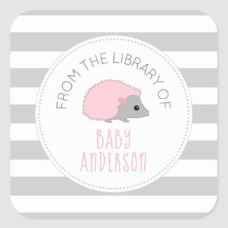 Pink Hedgehog girl baby shower bookplate / book Square Sticker