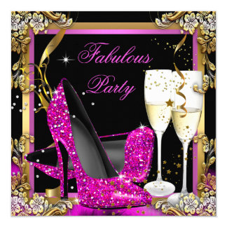 """Pink Heels Gold Black Fabulous Champagne Party 5.25"""" Square Invitation Card"""
