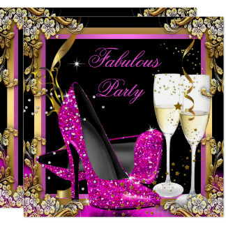 Pink Heels Gold Black Fabulous Champagne Party Card