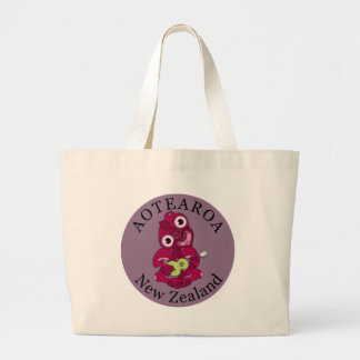 Pink Hei Tiki playing ukelele Large Tote Bag