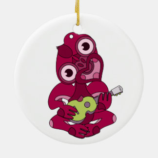 Pink Hei Tiki playing ukelele Round Ceramic Ornament