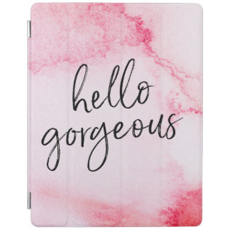 Pink Hello gorgeous hand-lettered ipad cover