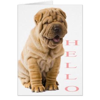 Pink Hello Shar Pei Puppy Dog Blank Card