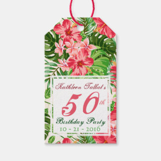 Pink Hibiscus 50th Birthday Party Gift Tag
