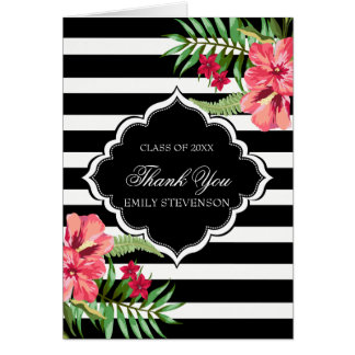 Pink Hibiscus And Black Stripes-Graduations Card