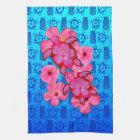 Pink Hibiscus And Honu Turtles Kitchen Towel