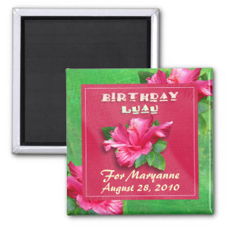 Pink Hibiscus Birthday Luau Magnets