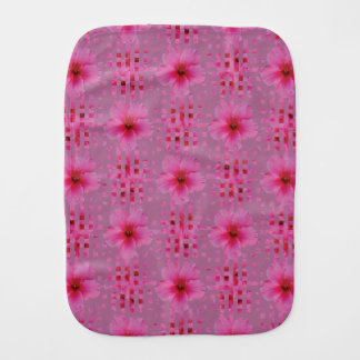 Pink Hibiscus Flower Baby Burp Cloth