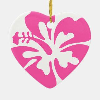 Pink Hibiscus Flower Ceramic Ornament