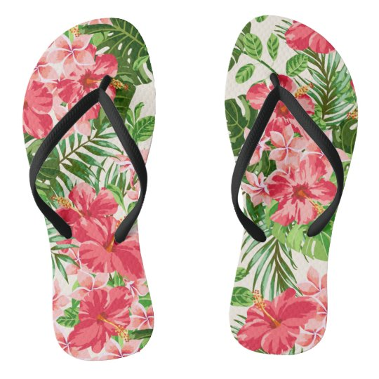 Pink Hibiscus Flower Leaves light Background FlipF Flip Flops