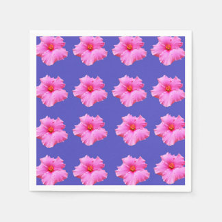 Pink Hibiscus Flower On Blue Background, Disposable Napkin