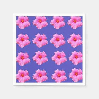 Pink Hibiscus Flower On Blue Background, Napkin