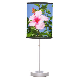 Pink Hibiscus Flower Table Lamps