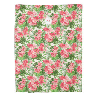 Pink Hibiscus Flower Tropical Palm Monogram DuvetC Duvet Cover