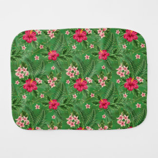 Pink Hibiscus Flowers and Leaves Burp Cloths
