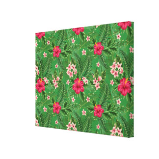 Pink Hibiscus Flowers and Leaves Canvas Print