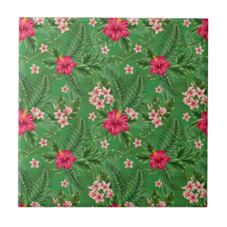 Pink Hibiscus Flowers and Leaves Ceramic Tiles