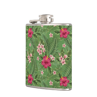 Pink Hibiscus Flowers and Leaves Flasks
