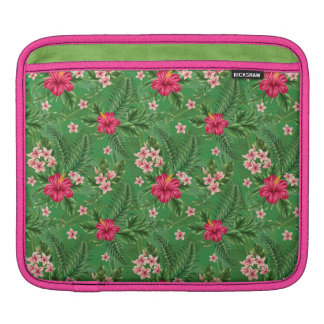 Pink Hibiscus Flowers and Leaves Sleeves For iPads