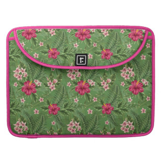 Pink Hibiscus Flowers and Leaves Sleeves For MacBook Pro