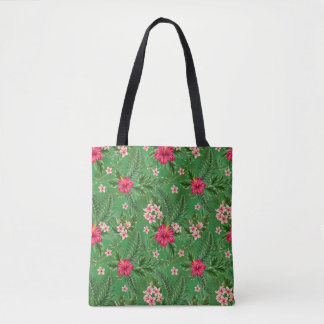 Pink Hibiscus Flowers and Leaves Tote Bag