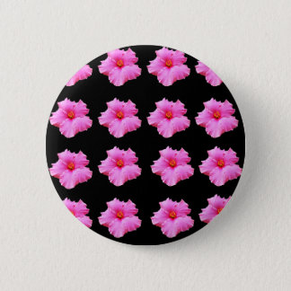 Pink Hibiscus Flowers On Black,_ 2 Inch Round Button