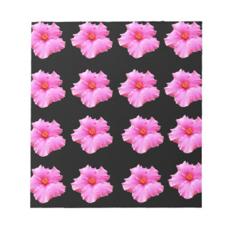 Pink Hibiscus Flowers On Black,_ Notepad