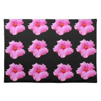 Pink Hibiscus Flowers On Black,_ Placemat