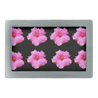 Pink Hibiscus Flowers On Black,_ Rectangular Belt Buckle