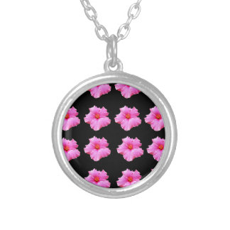 Pink Hibiscus Flowers On Black,_ Silver Plated Necklace