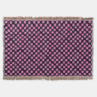 Pink Hibiscus Flowers On Black,_ Throw Blanket