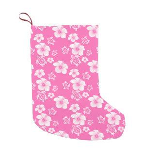 Pink Hibiscus Honu Hawaiian Pattern Small Christmas Stocking