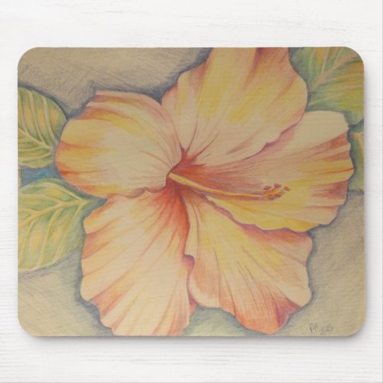 pink hibiscus mouse pad