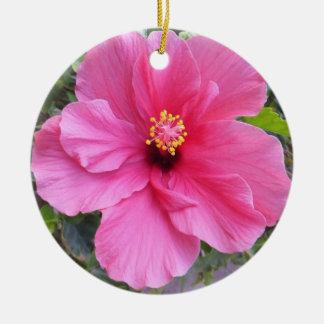 Pink Hibiscus ornament, customize Ceramic Ornament