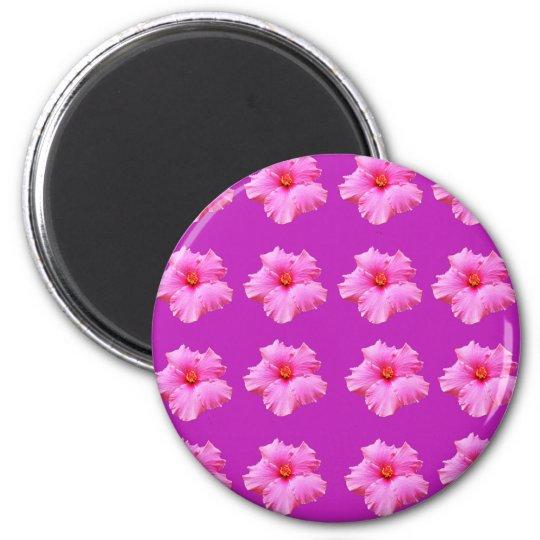 Pink_Hibiscus_Pattern,_ 2 Inch Round Magnet