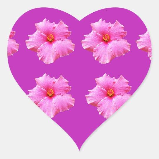 Pink_Hibiscus_Pattern,_ Heart Sticker