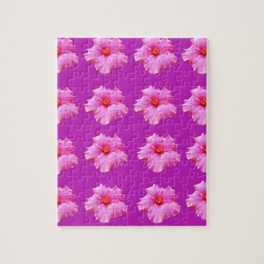 Pink_Hibiscus_Pattern,_ Jigsaw Puzzle