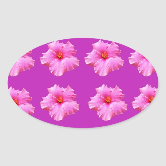 Pink_Hibiscus_Pattern,_ Oval Sticker