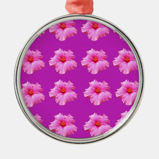 Pink_Hibiscus_Pattern,_ Silver-Colored Round Ornament