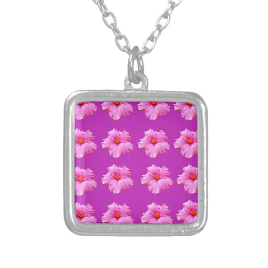 Pink_Hibiscus_Pattern,_ Silver Plated Necklace