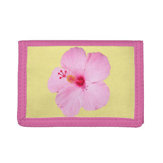 Pink Hibiscus Tri-fold Wallet