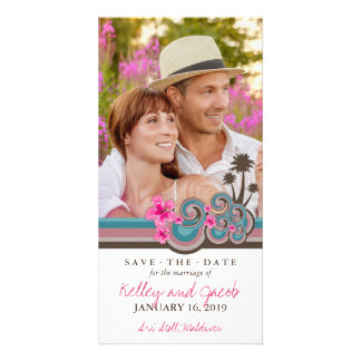 Pink Hibiscus Tropical Waves Beach Save The Date Personalized Photo Card