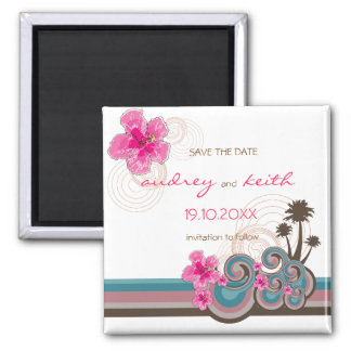 Pink Hibiscus Tropical Waves Beach Save The Date Square Magnet