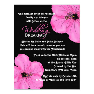 Pink Hibiscus Wedding Breakfast Card